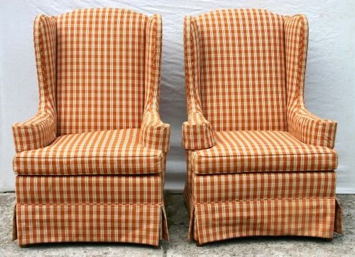 20B: fine pr of Ethan Allen upholstered wing chairs