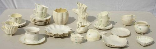 18: 45 pcs of mostly green mark Belleek china