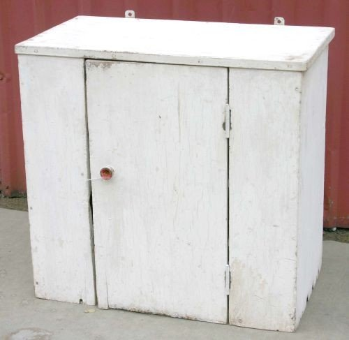 20: early ca 1820 pine hanging cupboard in old white pa