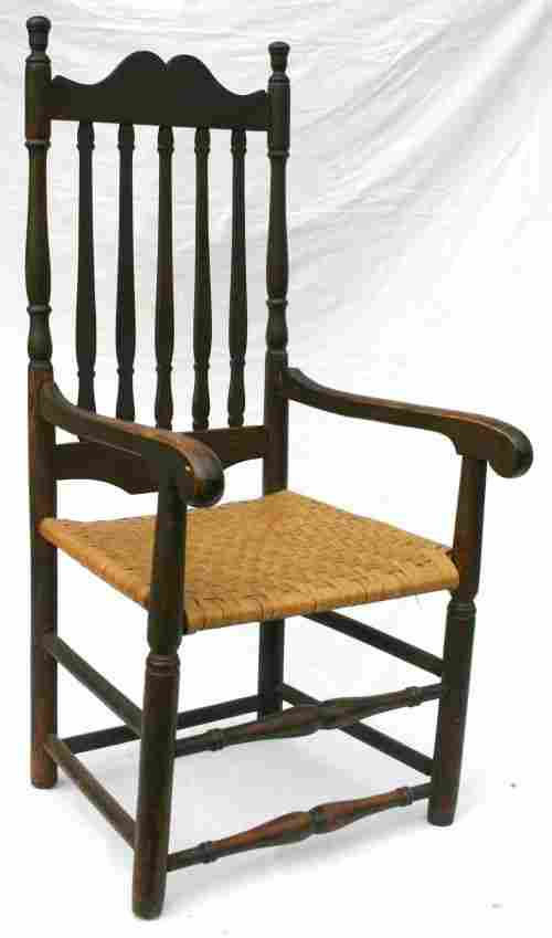 60: ca 1760 CT maple & poplar banister back archair in