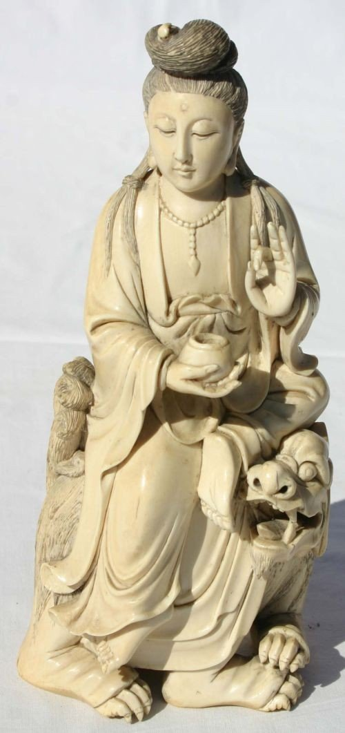 "243: Fine Chinese carved ivory 7"" figure of Quan Yin at"
