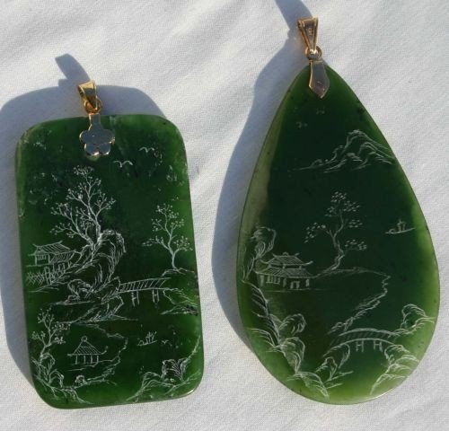 6: 2 ca 1920's Chinese spinach jade pendants w etched s