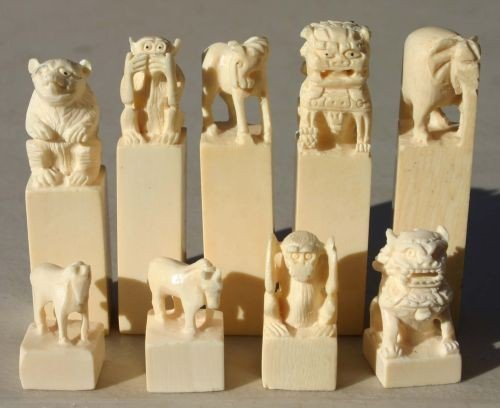 1: collection of 9 Chinese carved ivory chops w differe