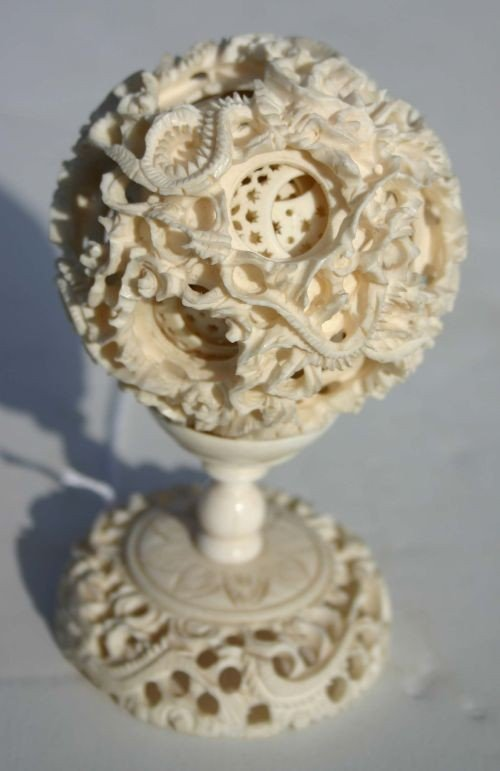 2: antique Chinese carved ivory worry ball on stand - 5