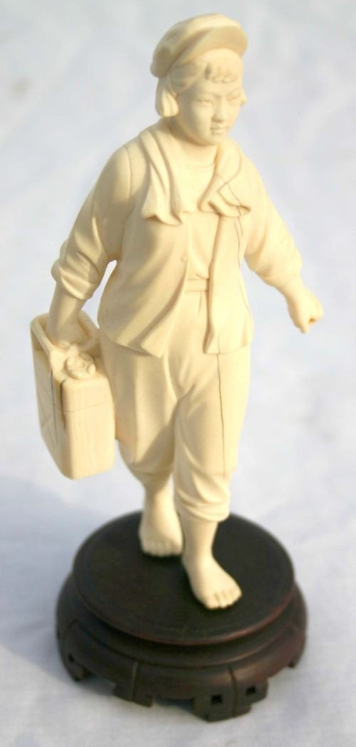"""3: Chinese Cultural Revolution 6 1/4"""" tall ivory figure"""