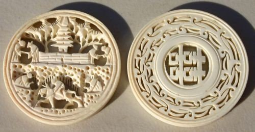 6: lot of 2 Chinese carved ivory coin pendants - 1 w ro