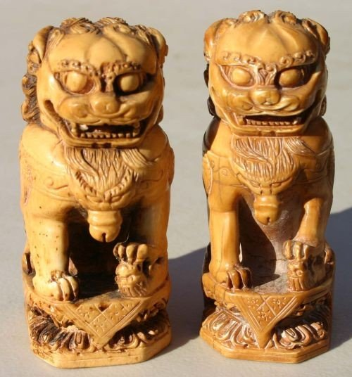 """7: pr of antique Chinese carved ivory foo dogs - 5"""" tal"""