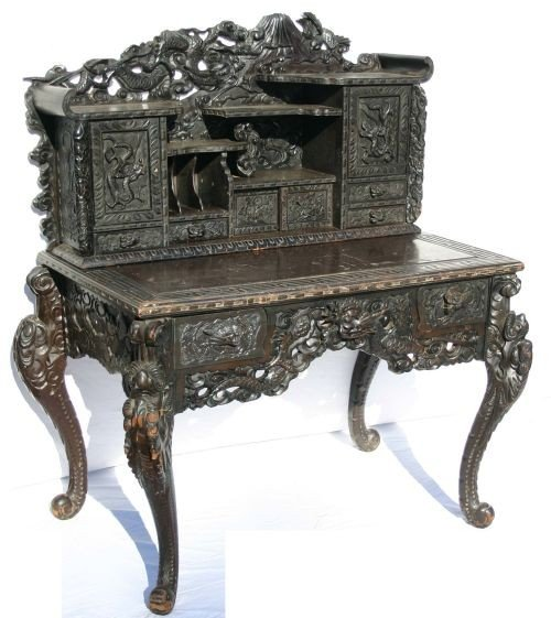 10: Highly carved antique Chinese 2 section desk - 3'10
