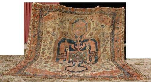 "11: 12'1""x13'7"" antique Serapi Oriental Rug"
