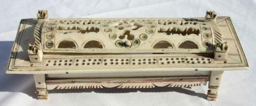 """12: Napoleonic POW carved ivory 8"""" box w polychrome pai"""