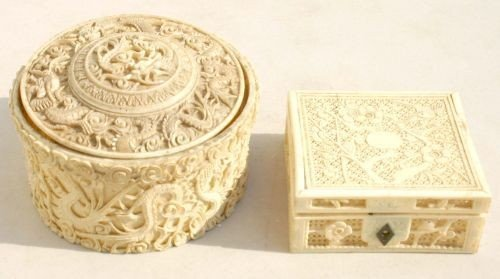 14: 2 pc lot of Chinese highly carved ivory incl 2 pc t