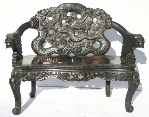 15: Highly carved Chinese bench w dragon painted seat d