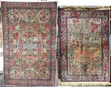 17 Lot of 2 semiantique Kirman Oriental area rugs  2