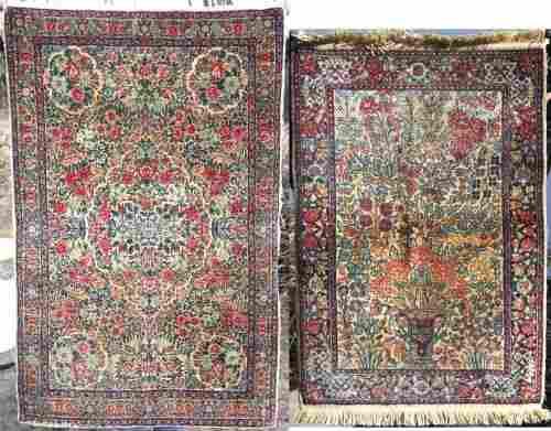 17: Lot of 2 semi-antique Kirman Oriental area rugs - 2