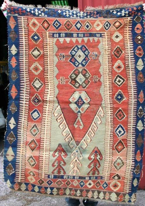 """19: 3'9""""x4'8"""" antique Kilim Oriental area rug"""