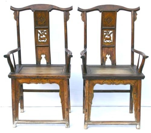 20: pr of possibly 18thC Chinese elm wood armchairs - 3