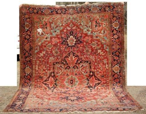"21: 8'x11'6"" antique Persian Heriz rm size Oriental rug"