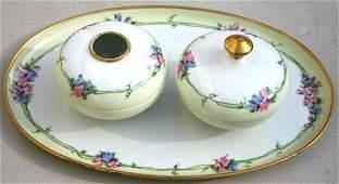 432 Limoges  Austrian 3 pc porcelain dresser set  be
