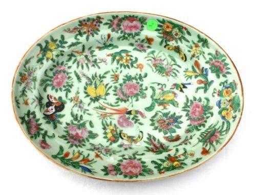 "2: 19thC Celadon/Famille Rose serving tray - 14 3/4""x12"