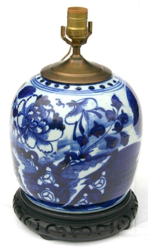 4B: antique Chinese blue & white ginger jar form lamp b