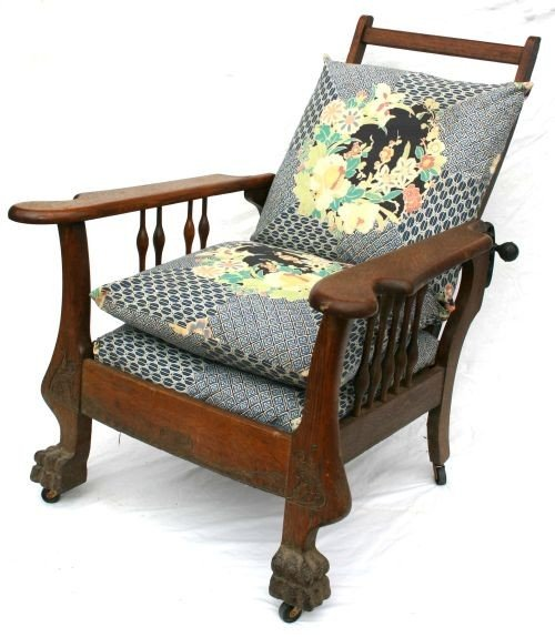5: Victorian carved oak spindle sided Morris chair w la