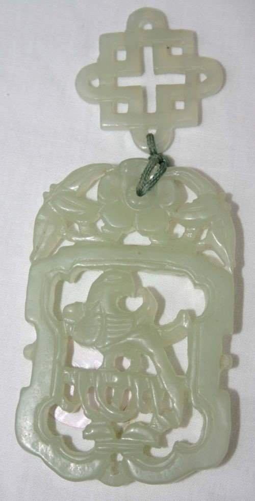 6: Chinese white jade open carved pendant w bird & flor