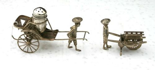 9: 2 Chinese Export silver items - one with man pushing