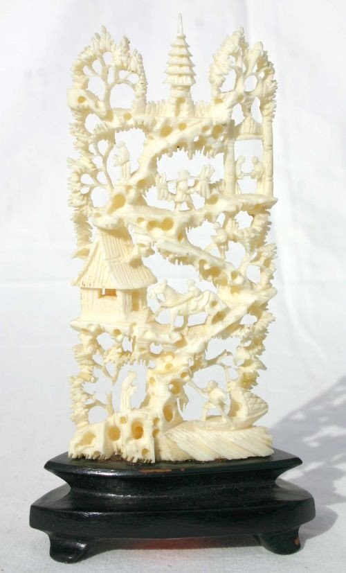 12: Chinese intricate carved ivory village scene screen