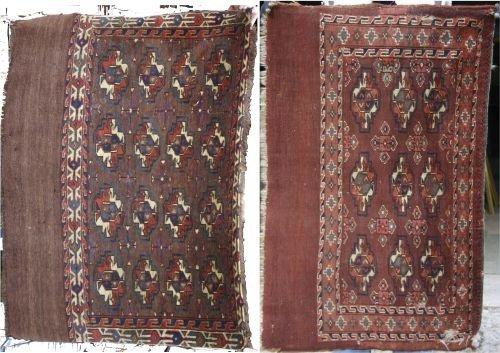 "16: lot of 2 antique Tekke/Turkoman Oriental mats - 29"""
