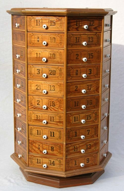 60: antique 80 drawer octagonal revolving hardware stor