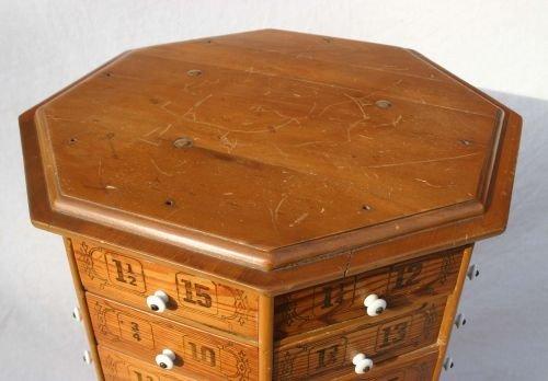 60: antique 80 drawer octagonal revolving hardware stor - 2
