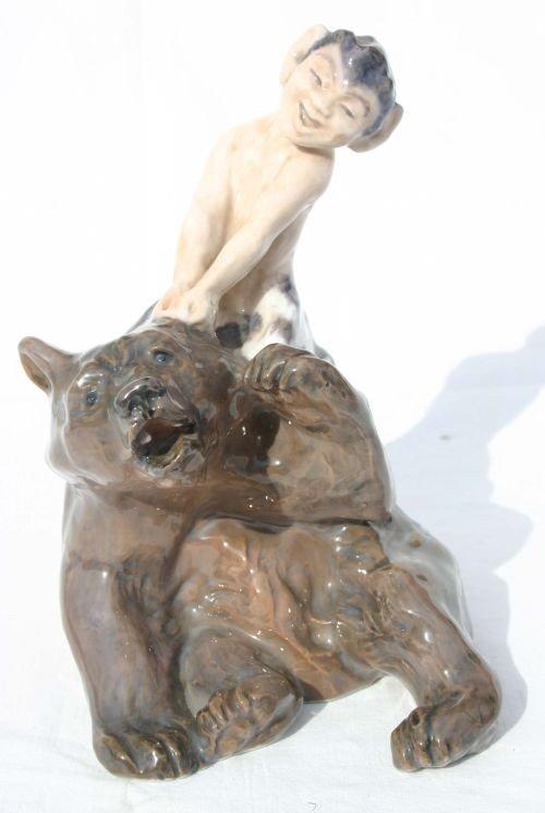 """252: Rare Royal Copenhagen #1804 """"Faun on Bear"""" porcela"""