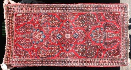 "2: 2'2""x4'2"" semi-antique Persian Sarouk Oriental area"