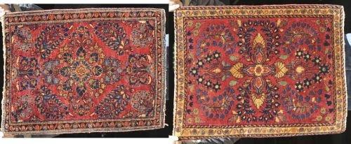 10: lot of 2 antique Sarouk Oriental mats