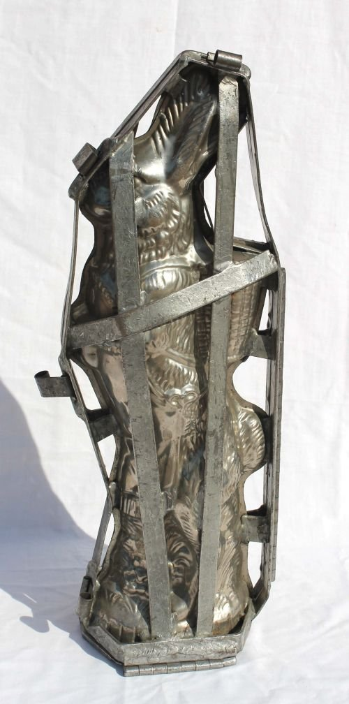 """13: very large 20 1/2"""" tall antique tin chocolate Easte"""