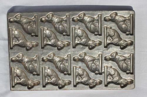"14: antique multi rabbit tin chocolate sheet mold - 12"""