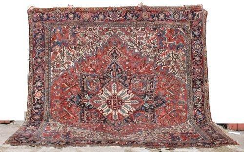 "16: 10'7""x11'4"" antique Persian Heriz Oriental rm size"