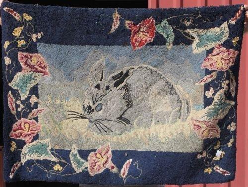 17: ca 1920's American hooked rug w rabbit & floral mot