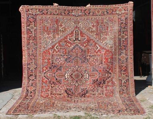 21: 8x10 antique Persian Heriz Oriental rm size rug