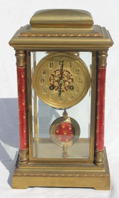 """24: Japy Freres French brass & beveled glass 13"""" clock"""