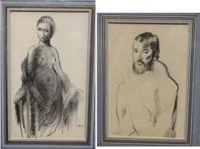 2 Pierre Bonnard (1867-1947)  Conte Crayon Drawings