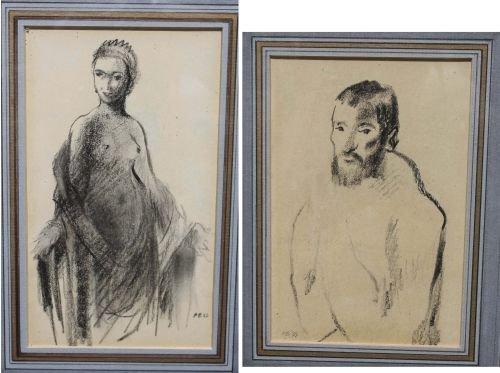 29: 2 Pierre Bonnard (1867-1947)  conte crayon drawings