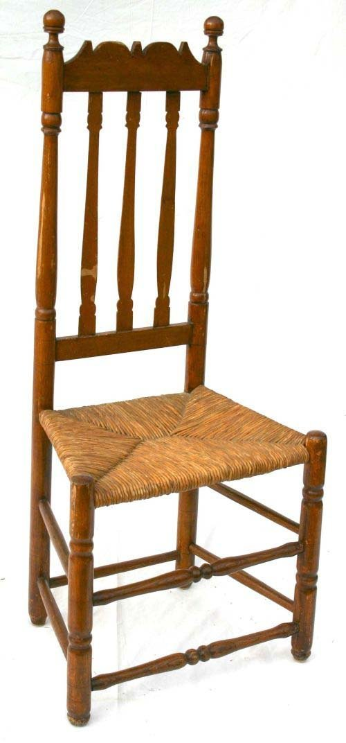35: 18thC New England bannister back side chair w rush