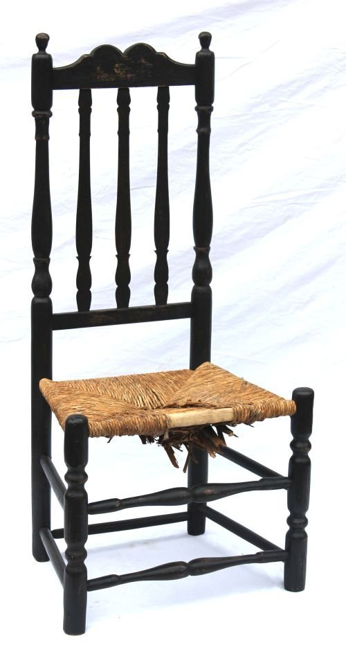 36: ca 1720's Worcester County bannister back side chai