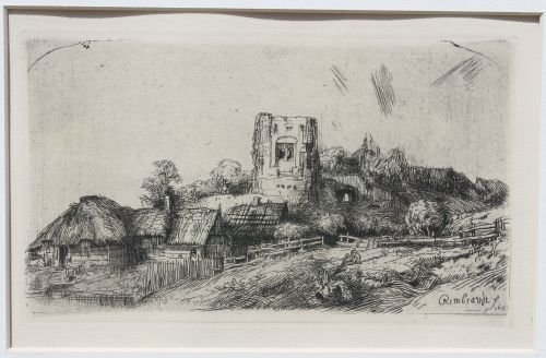 39A: ca 1850 Rembrandt etching - beautifully framed & m