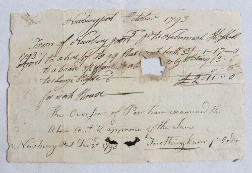 40A: Rare dated 1793 Newburyport, MA town work order w