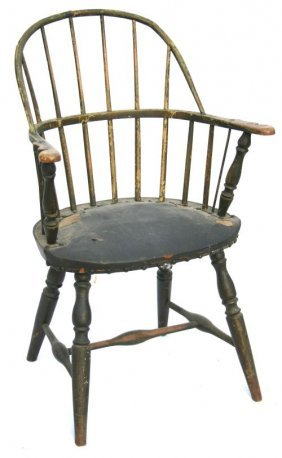 Late 18thC Fine Form RI Windsor Bowback Armchair In