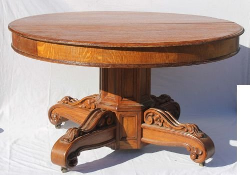"""105: ca 1880 American golden oak 51"""" round dining table"""