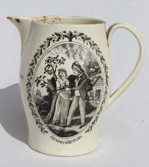"108: early creamware 7 1/2"" tall Liverpool motto jug (a"