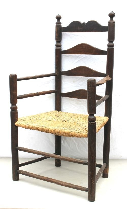 110: ca 1710-1730 ash ladderback armchair from VA or PA